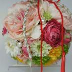 アーティフィシャルフラワーブーケNo.4~和装用ボールブーケ:¥18,000(ブートニア付き)/花材:アーティフィシャルフラワー