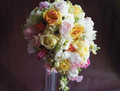 ミックスカラーティアドロップ~春の花をあしらって